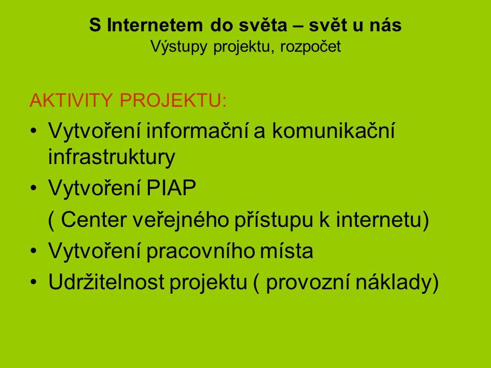 S Internetem do světa – svět u nás Výstupy projektu, rozpočet AKTIVITY PROJEKTU: •Vytvoření informační a komunikační infrastruktury •Vytvoření PIAP ( Center veřejného přístupu k internetu) •Vytvoření pracovního místa •Udržitelnost projektu ( provozní náklady)