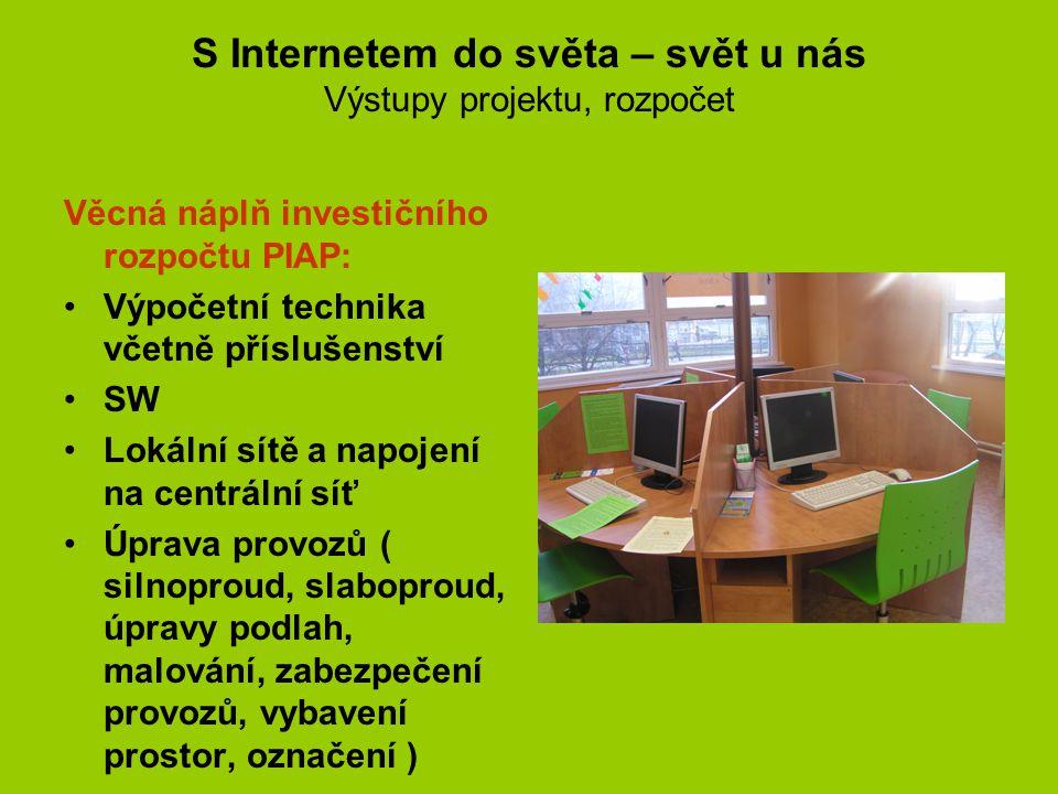 S Internetem do světa – svět u nás Harmonogram Harmonogram projektu: předpoklad : 7/2005 – 8/2006 skutečnost : - 9/2007 Včetně zadání veřejných zakázek.