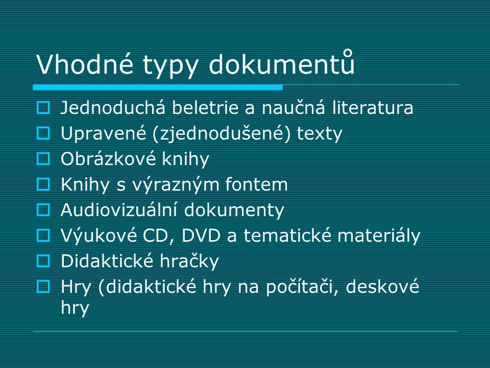 Vhodné typy dokumentů  Jednoduchá beletrie a naučná literatura  Upravené (zjednodušené) texty  Obrázkové knihy  Knihy s výrazným fontem  Audioviz