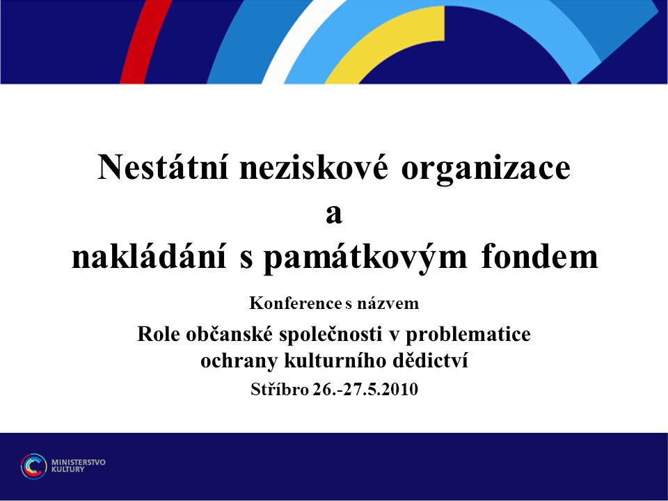 Nestátní neziskové organizace a nakládání s památkovým fondem Konference s názvem Role občanské společnosti v problematice ochrany kulturního dědictví
