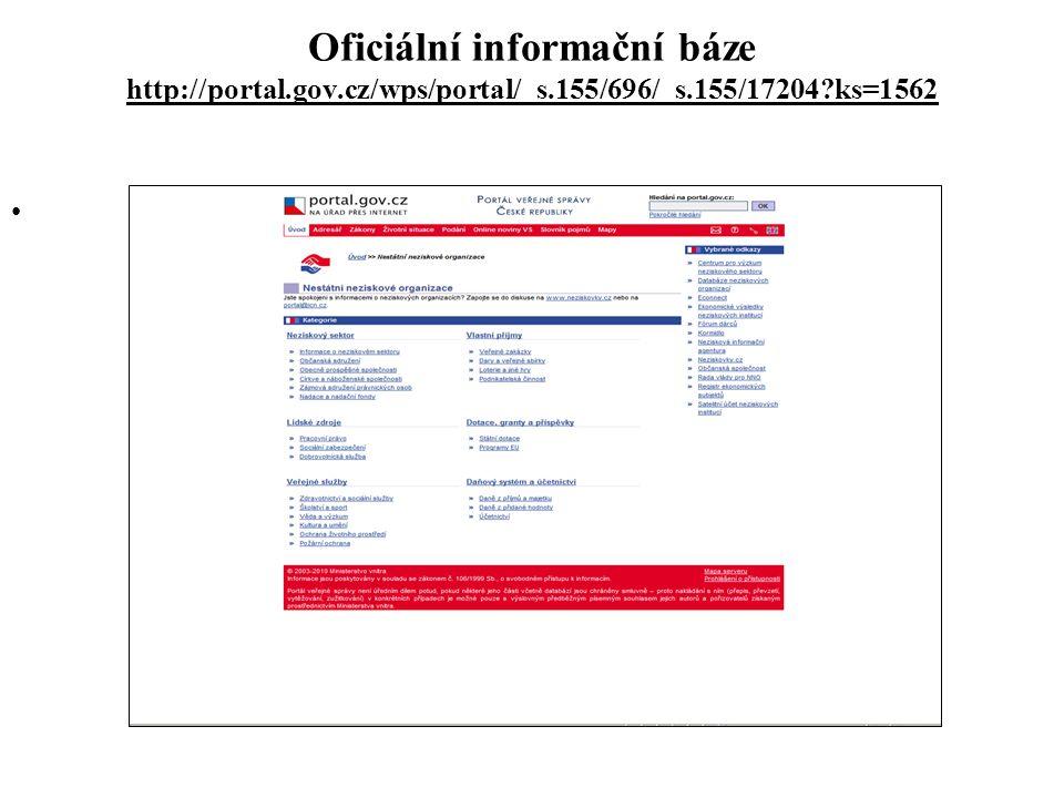 Oficiální informační báze http://portal.gov.cz/wps/portal/_s.155/696/_s.155/17204?ks=1562