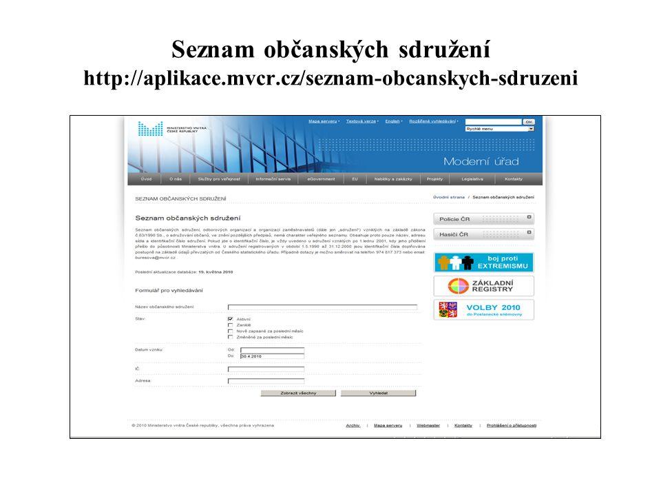 Seznam občanských sdružení http://aplikace.mvcr.cz/seznam-obcanskych-sdruzeni