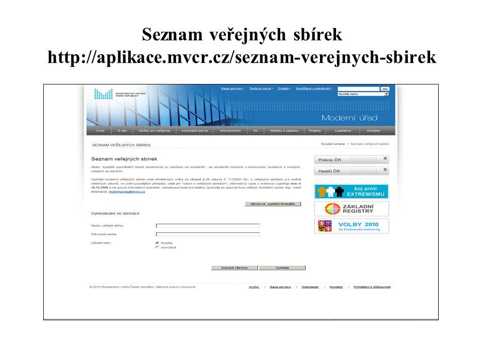 Seznam veřejných sbírek http://aplikace.mvcr.cz/seznam-verejnych-sbirek
