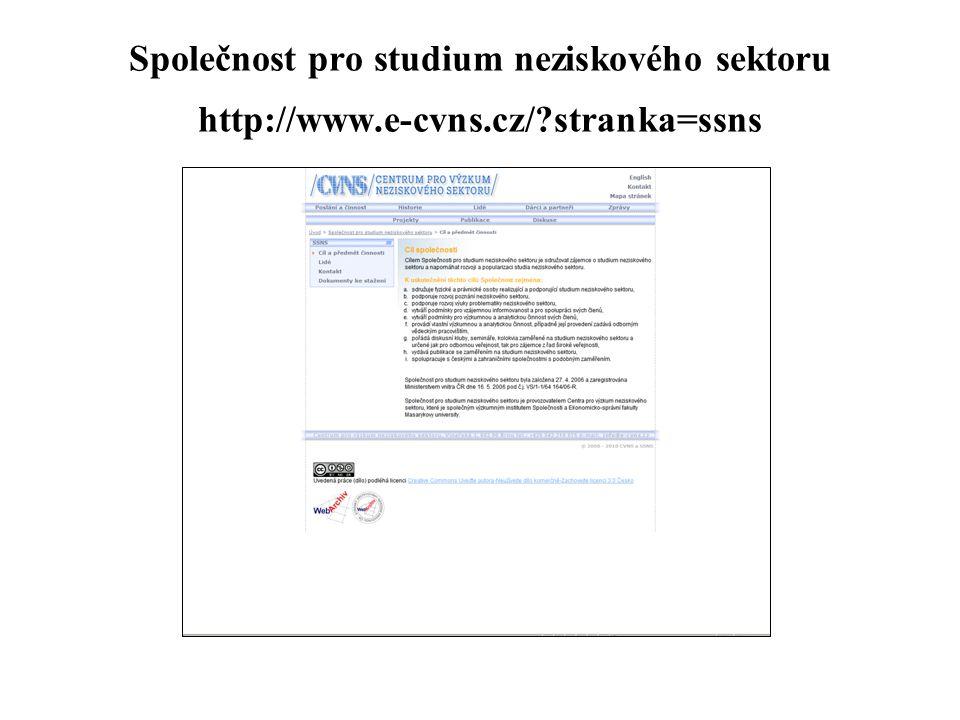 Společnost pro studium neziskového sektoru http://www.e-cvns.cz/?stranka=ssns