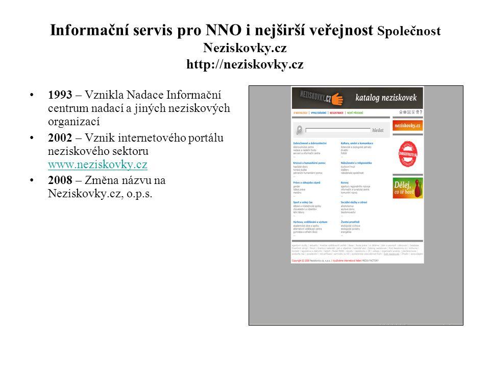 Informační servis pro NNO i nejširší veřejnost Společnost Neziskovky.cz http://neziskovky.cz •1993 – Vznikla Nadace Informační centrum nadací a jiných