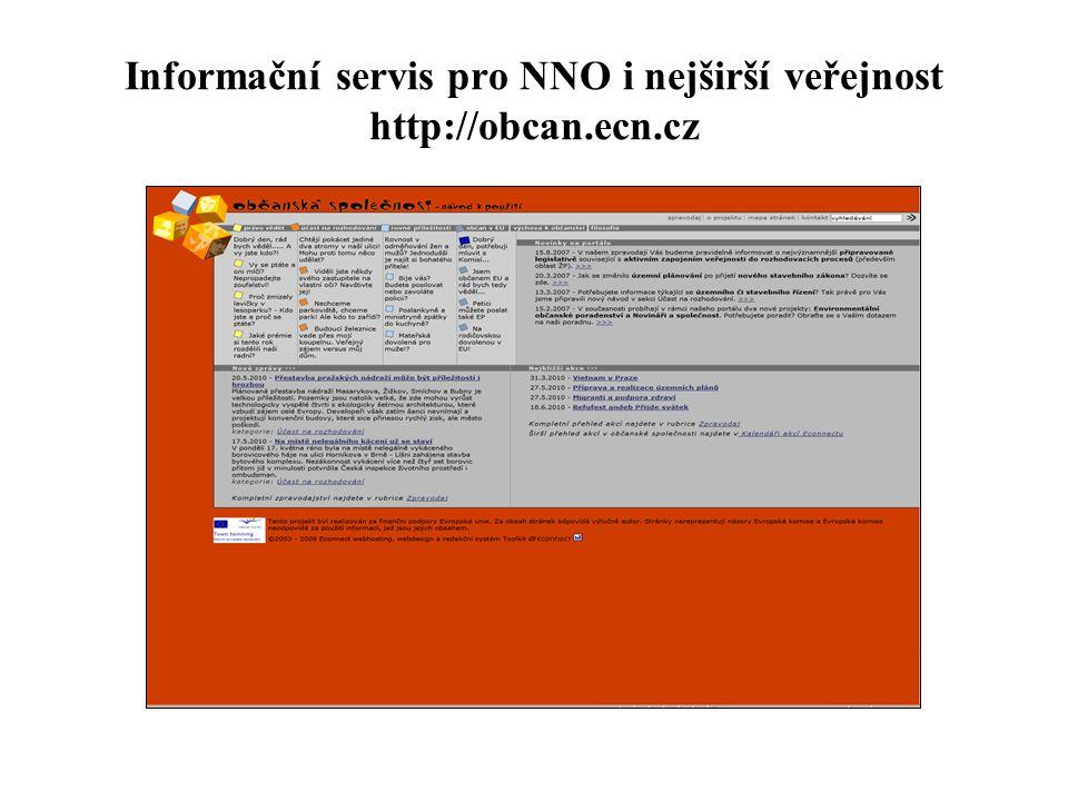 Informační servis pro NNO i nejširší veřejnost http://obcan.ecn.cz