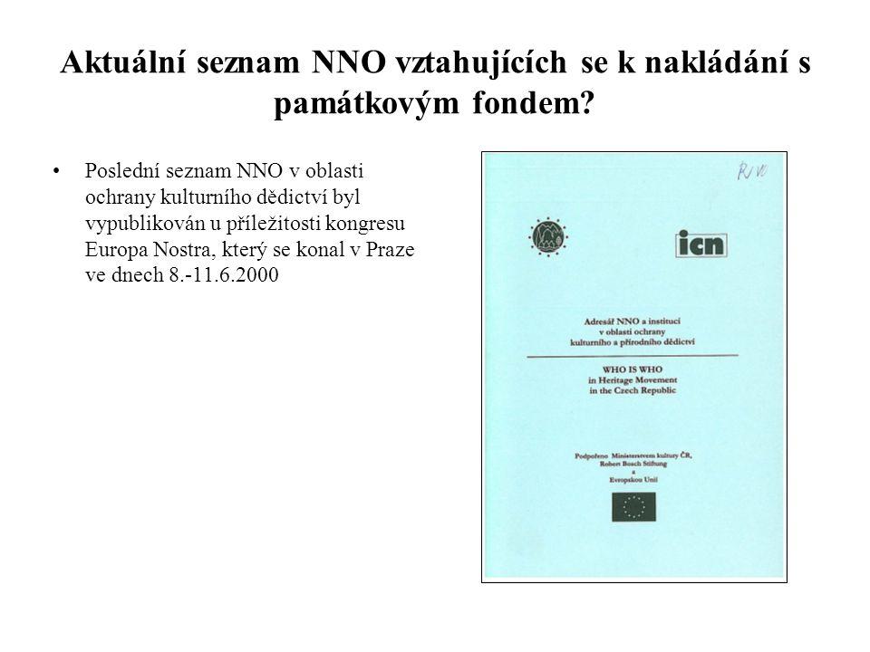 Aktuální seznam NNO vztahujících se k nakládání s památkovým fondem? •Poslední seznam NNO v oblasti ochrany kulturního dědictví byl vypublikován u pří