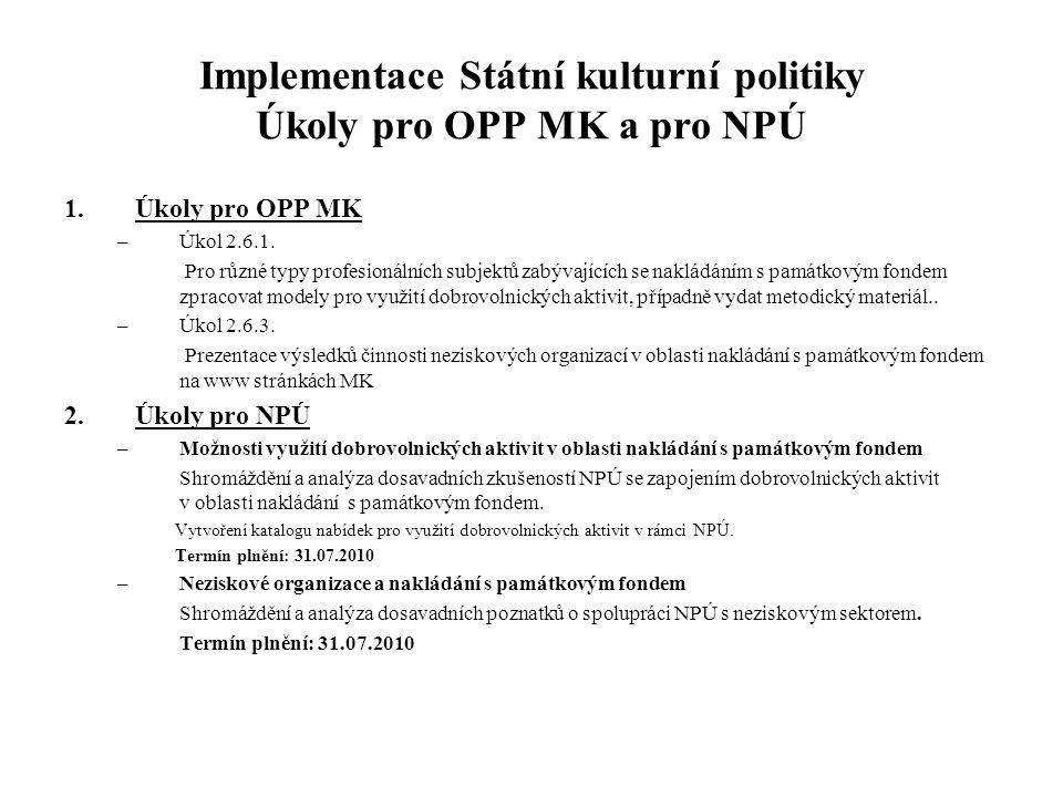 Implementace Státní kulturní politiky Úkoly pro OPP MK a pro NPÚ 1.Úkoly pro OPP MK –Úkol 2.6.1. Pro různé typy profesionálních subjektů zabývajících