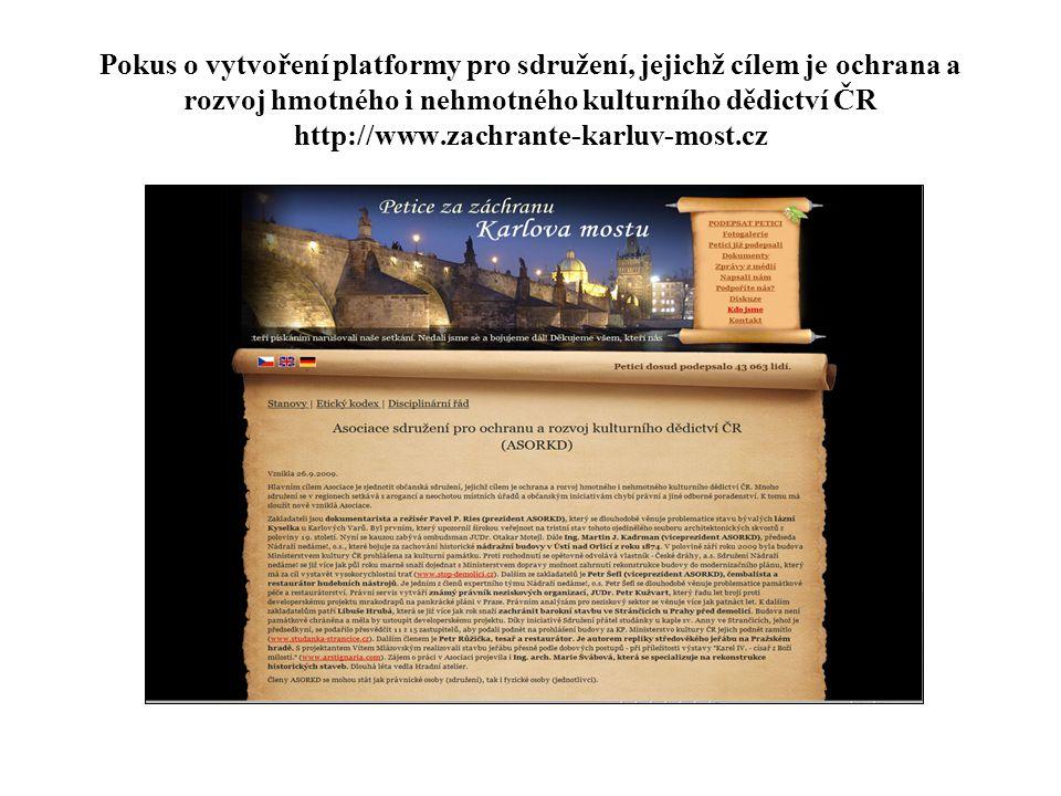 Pokus o vytvoření platformy pro sdružení, jejichž cílem je ochrana a rozvoj hmotného i nehmotného kulturního dědictví ČR http://www.zachrante-karluv-m