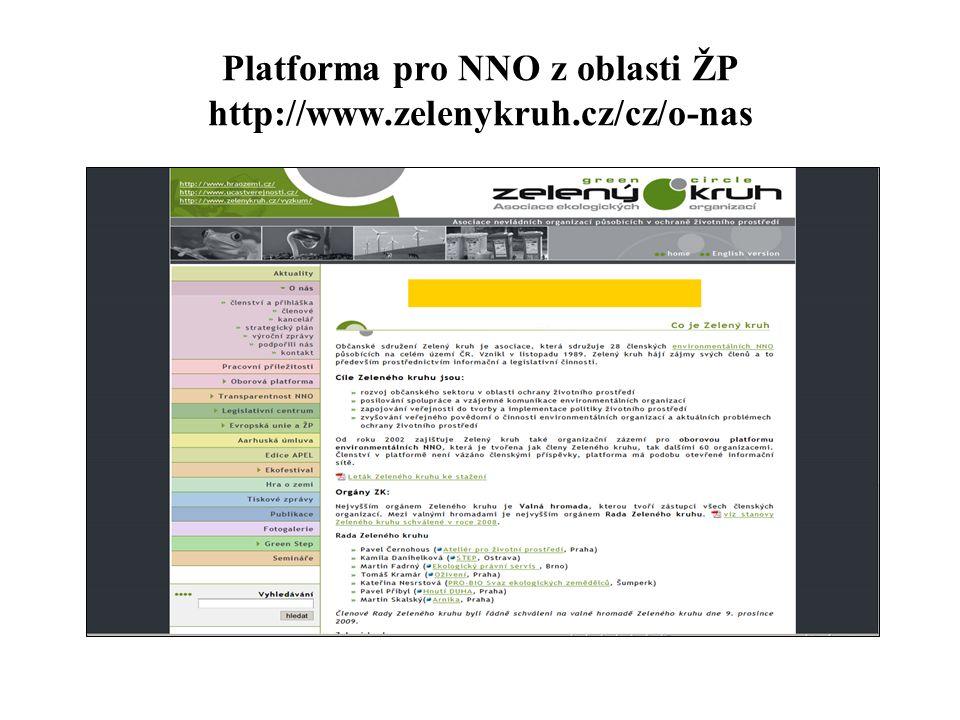 Platforma pro NNO z oblasti ŽP http://www.zelenykruh.cz/cz/o-nas