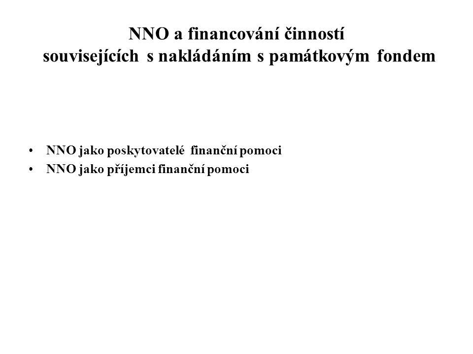 NNO a financování činností souvisejících s nakládáním s památkovým fondem •NNO jako poskytovatelé finanční pomoci •NNO jako příjemci finanční pomoci