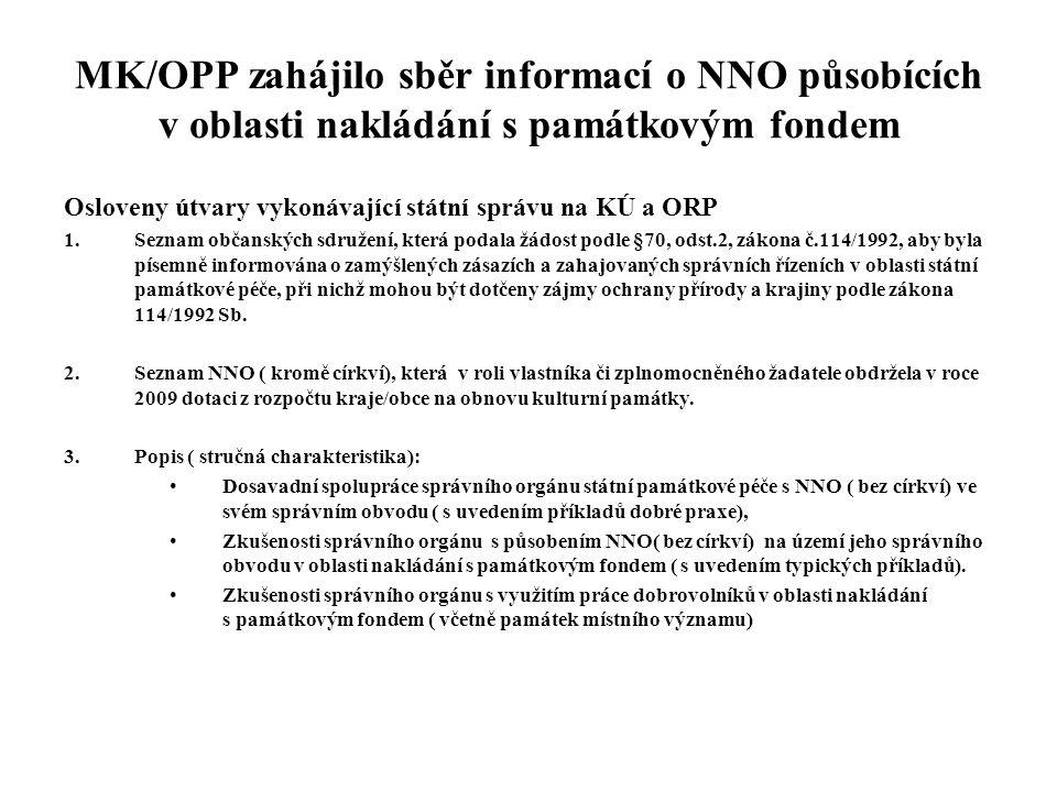 MK/OPP zahájilo sběr informací o NNO působících v oblasti nakládání s památkovým fondem Osloveny útvary vykonávající státní správu na KÚ a ORP 1.Sezna