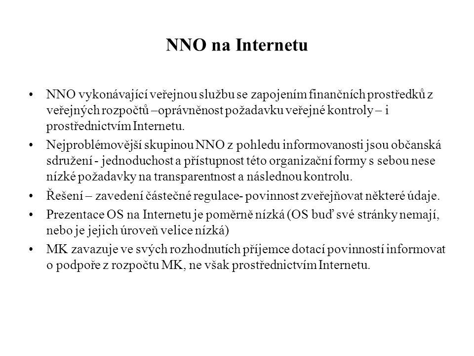 NNO na Internetu •NNO vykonávající veřejnou službu se zapojením finančních prostředků z veřejných rozpočtů –oprávněnost požadavku veřejné kontroly – i