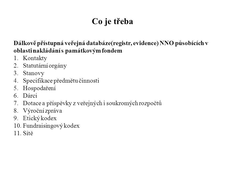 Co je třeba Dálkově přístupná veřejná databáze(registr, evidence) NNO působících v oblasti nakládání s památkovým fondem 1.Kontakty 2.Statutární orgán