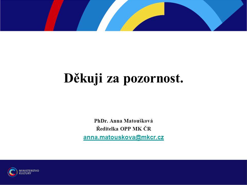 Děkuji za pozornost. PhDr. Anna Matoušková Ředitelka OPP MK ČR anna.matouskova@mkcr.cz