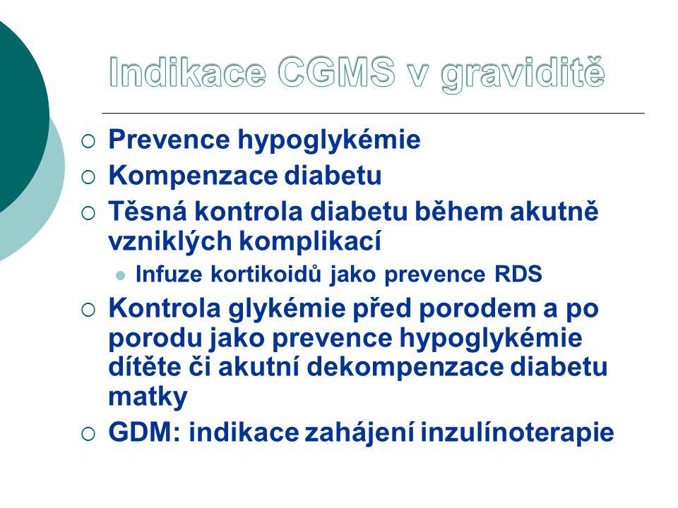  Prevence hypoglykémie  Kompenzace diabetu  Těsná kontrola diabetu během akutně vzniklých komplikací  Infuze kortikoidů jako prevence RDS  Kontrola glykémie před porodem a po porodu jako prevence hypoglykémie dítěte či akutní dekompenzace diabetu matky  GDM: indikace zahájení inzulínoterapie
