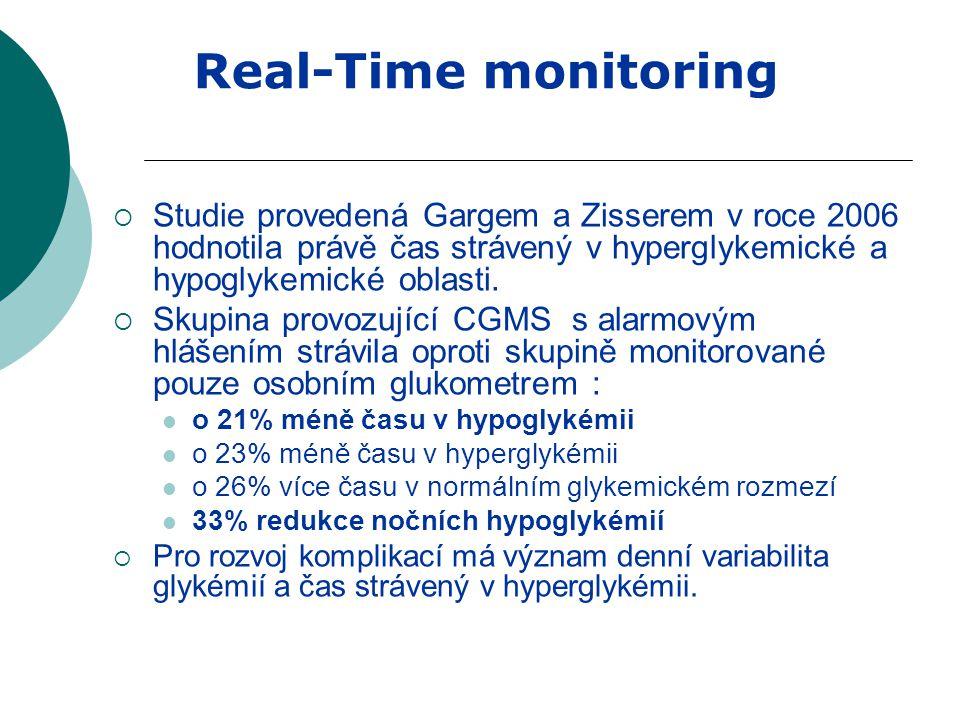  Studie provedená Gargem a Zisserem v roce 2006 hodnotila právě čas strávený v hyperglykemické a hypoglykemické oblasti.