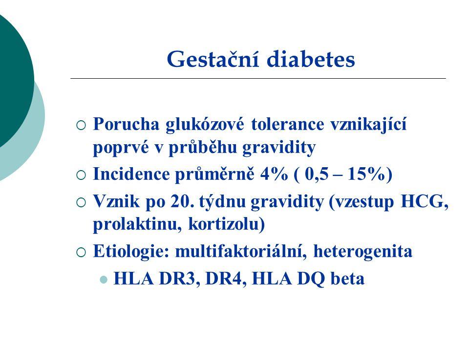 Gestační diabetes  Porucha glukózové tolerance vznikající poprvé v průběhu gravidity  Incidence průměrně 4% ( 0,5 – 15%)  Vznik po 20.