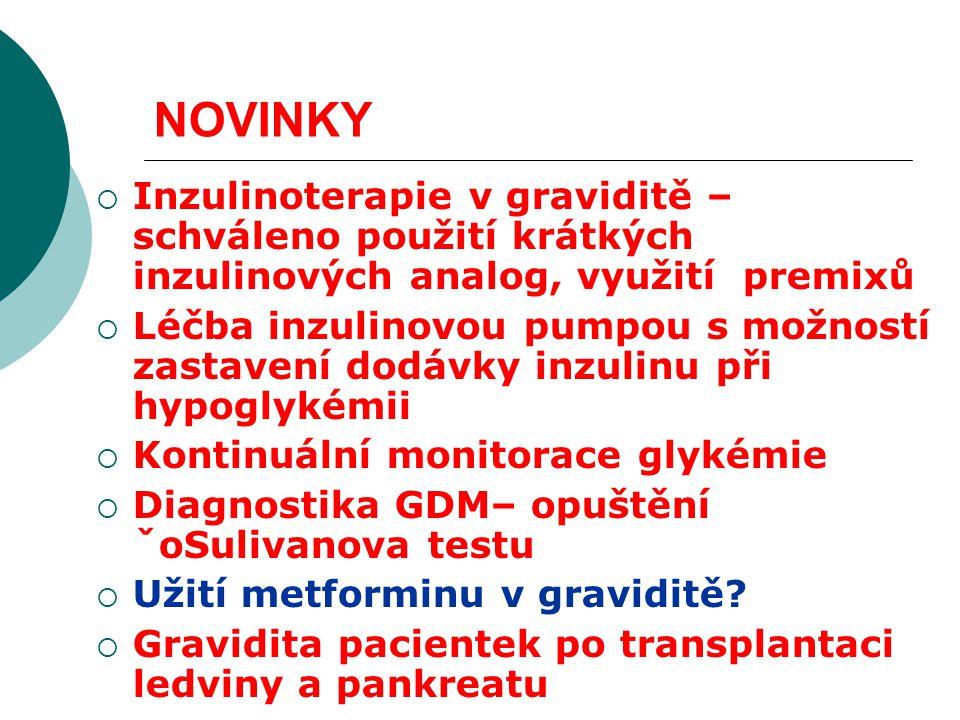 NOVINKY  Inzulinoterapie v graviditě – schváleno použití krátkých inzulinových analog, využití premixů  Léčba inzulinovou pumpou s možností zastavení dodávky inzulinu při hypoglykémii  Kontinuální monitorace glykémie  Diagnostika GDM– opuštění ˇoSulivanova testu  Užití metforminu v graviditě.
