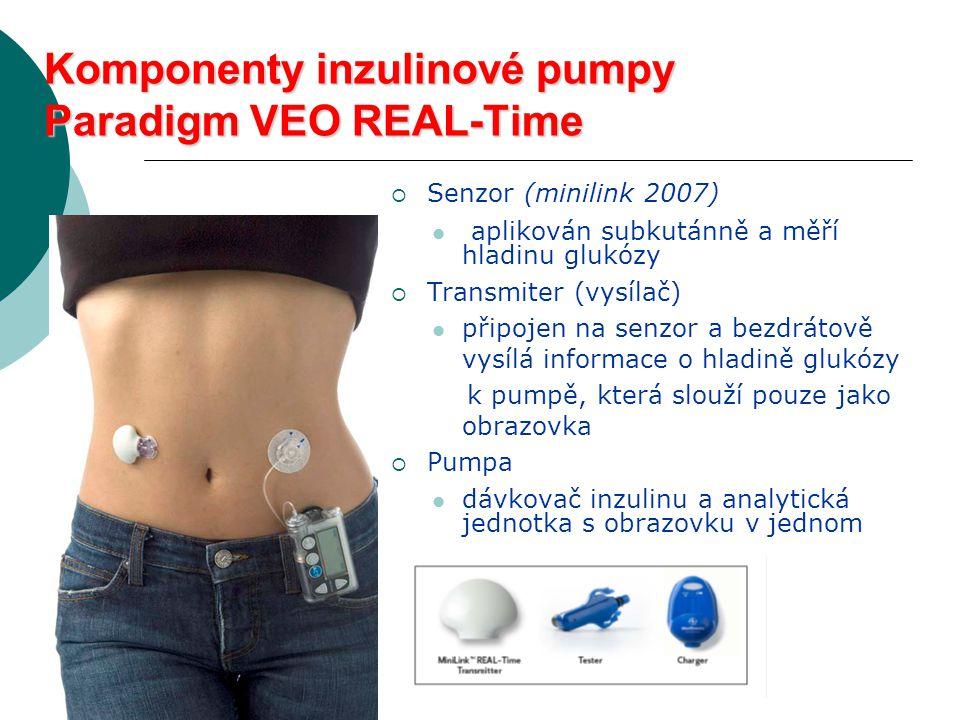 Komponenty inzulinové pumpy Paradigm VEO REAL-Time  Senzor (minilink 2007)  aplikován subkutánně a měří hladinu glukózy  Transmiter (vysílač)  připojen na senzor a bezdrátově vysílá informace o hladině glukózy k pumpě, která slouží pouze jako obrazovka  Pumpa  dávkovač inzulinu a analytická jednotka s obrazovku v jednom
