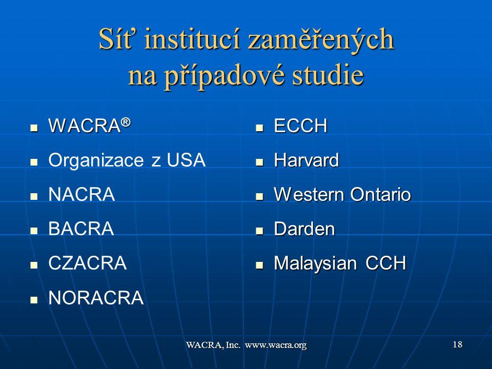 WACRA, Inc. www.wacra.org 18 Síť institucí zaměřených na případové studie  WACRA ®   Organizace z USA   NACRA   BACRA   CZACRA   NORACRA 
