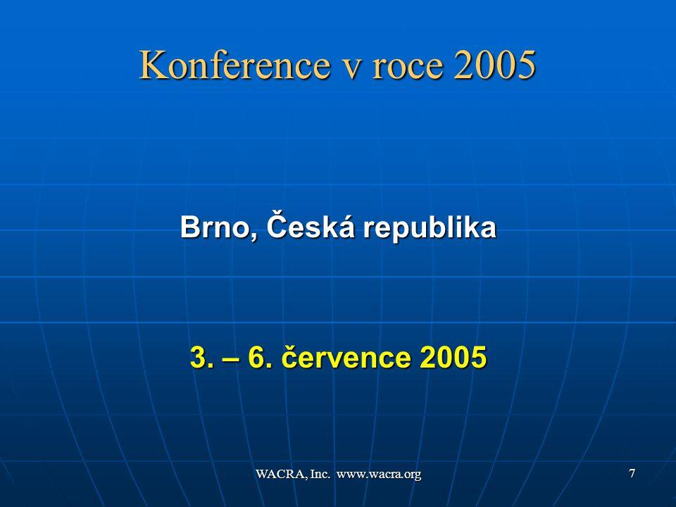 WACRA, Inc. www.wacra.org 7 Konference v roce 2005 Brno, Česká republika 3. – 6. července 2005