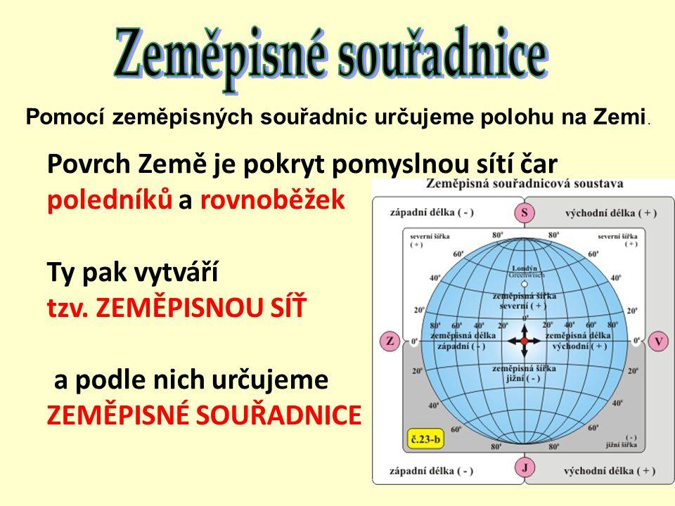 Pomocí zeměpisných souřadnic určujeme polohu na Zemi. Povrch Země je pokryt pomyslnou sítí čar poledníků a rovnoběžek Ty pak vytváří tzv. ZEMĚPISNOU S
