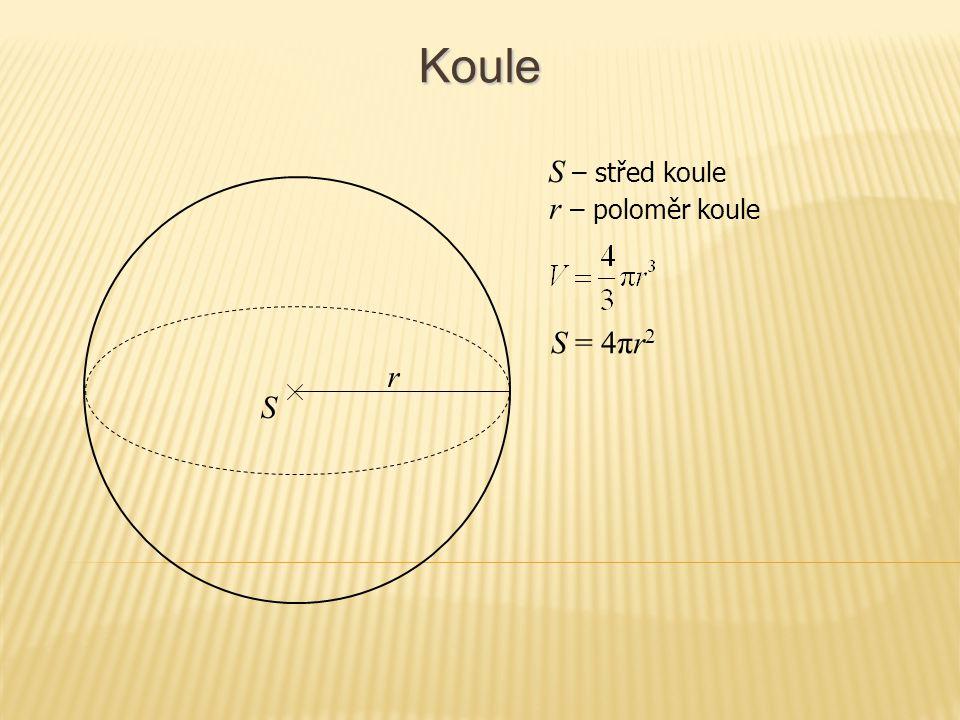 Části koule – úseč r S = 2πrv + πρ 2 r – poloměr koule r ρ v ρ – poloměr úseče v – výška úseče Povrch úseče se skládá z podstavy a z pláště, kterému se říká vrchlík.