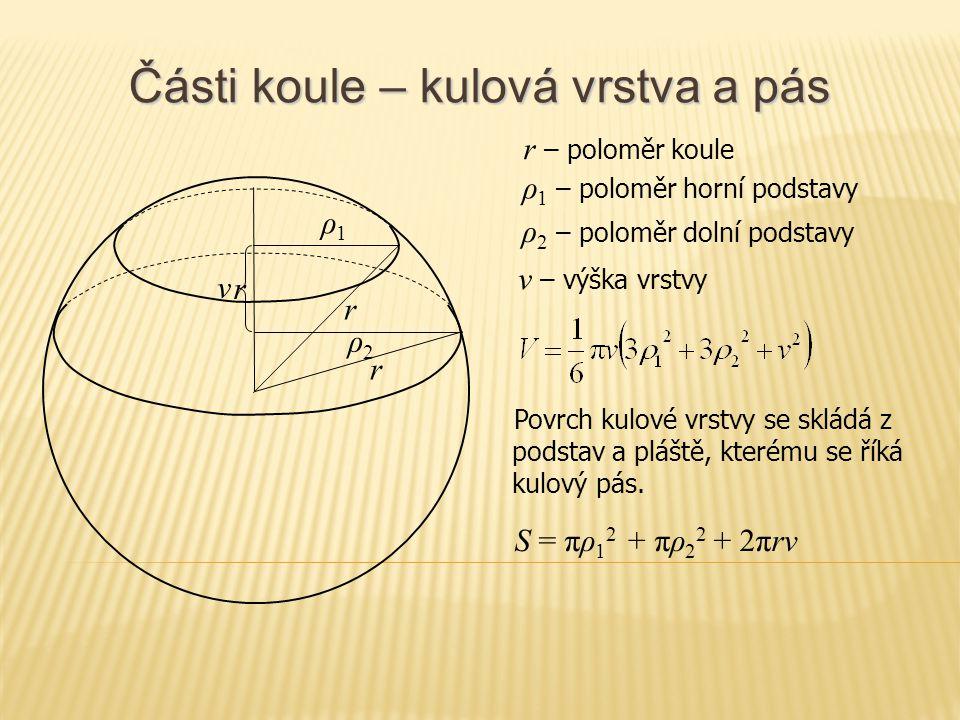 Části koule – kulová vrstva a pás r S = πρ 1 2 + πρ 2 2 + 2πrv r – poloměr koule v ρ1ρ1 ρ 1 – poloměr horní podstavy v – výška vrstvy Povrch kulové vr