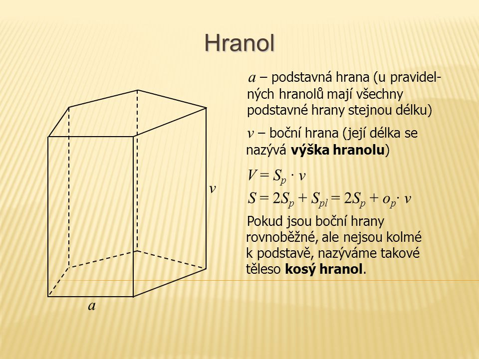 Hranol V = S p · v S = 2S p + S pl = 2S p + o p · v Pokud jsou boční hrany rovnoběžné, ale nejsou kolmé k podstavě, nazýváme takové těleso kosý hranol