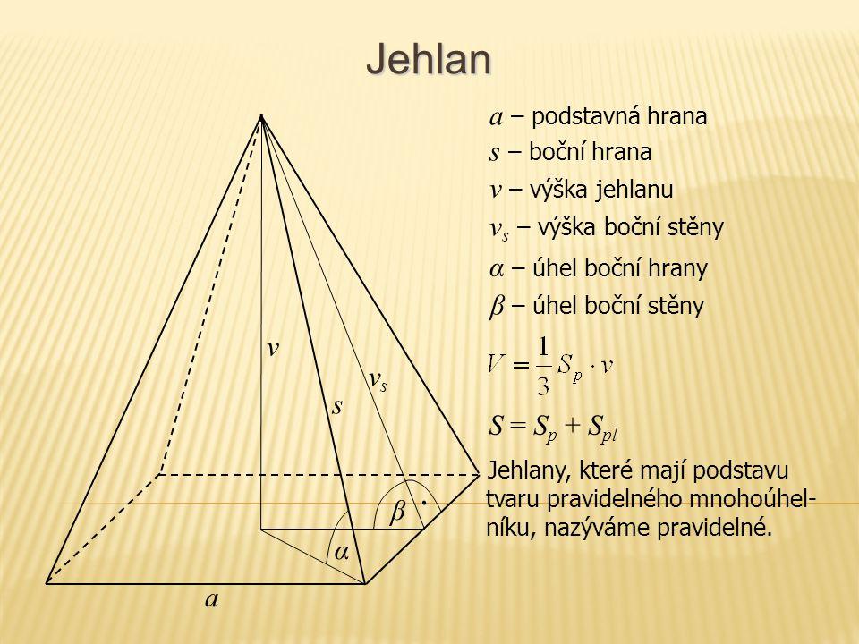 Jehlan v s a S = S p + S pl Jehlany, které mají podstavu tvaru pravidelného mnohoúhel- níku, nazýváme pravidelné. vsvs β α v – výška jehlanu a – podst
