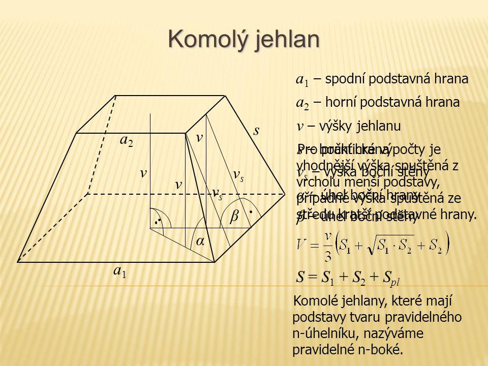 Komolý jehlan S = S 1 + S 2 + S pl v – výšky jehlanu s – boční hrana α – úhel boční hrany β – úhel boční stěny v s – výška boční stěny v s a1a1 vsvs β