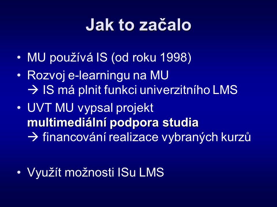 Jak to začalo •MU používá IS (od roku 1998) •Rozvoj e-learningu na MU  IS má plnit funkci univerzitního LMS multimediální podpora studia •UVT MU vyps