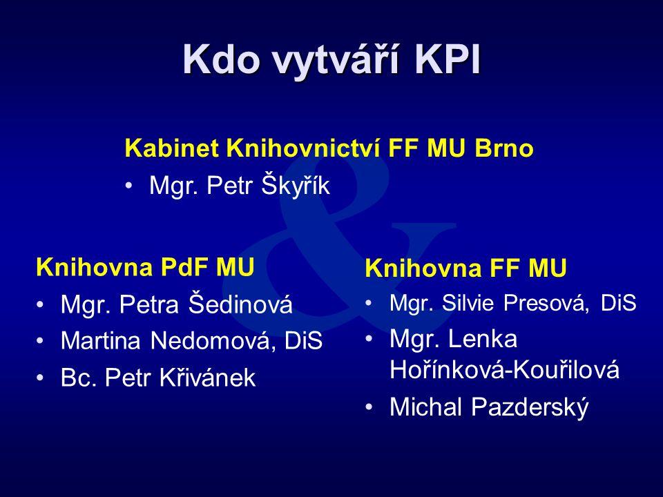 Kdo vytváří KPI Knihovna PdF MU •Mgr. Petra Šedinová •Martina Nedomová, DiS •Bc. Petr Křivánek Knihovna FF MU • •Mgr. Silvie Presová, DiS • •Mgr. Lenk