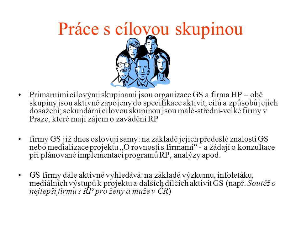 """Práce s cílovou skupinou •Primárními cílovými skupinami jsou organizace GS a firma HP – obě skupiny jsou aktivně zapojeny do specifikace aktivit, cílů a způsobů jejich dosažení; sekundární cílovou skupinou jsou malé-střední-velké firmy v Praze, které mají zájem o zavádění RP •firmy GS již dnes oslovují samy: na základě jejich předešlé znalosti GS nebo medializace projektu """"O rovnosti s firmami - a žádají o konzultace při plánované implementaci programů RP, analýzy apod."""