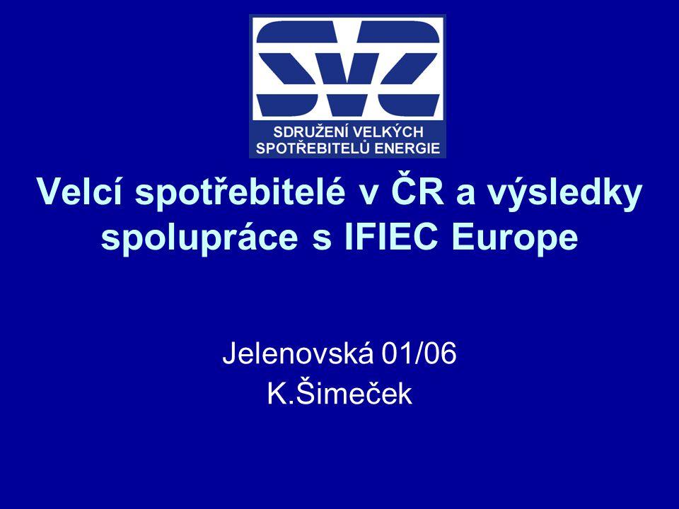 Velcí spotřebitelé v ČR a výsledky spolupráce s IFIEC Europe Jelenovská 01/06 K.Šimeček