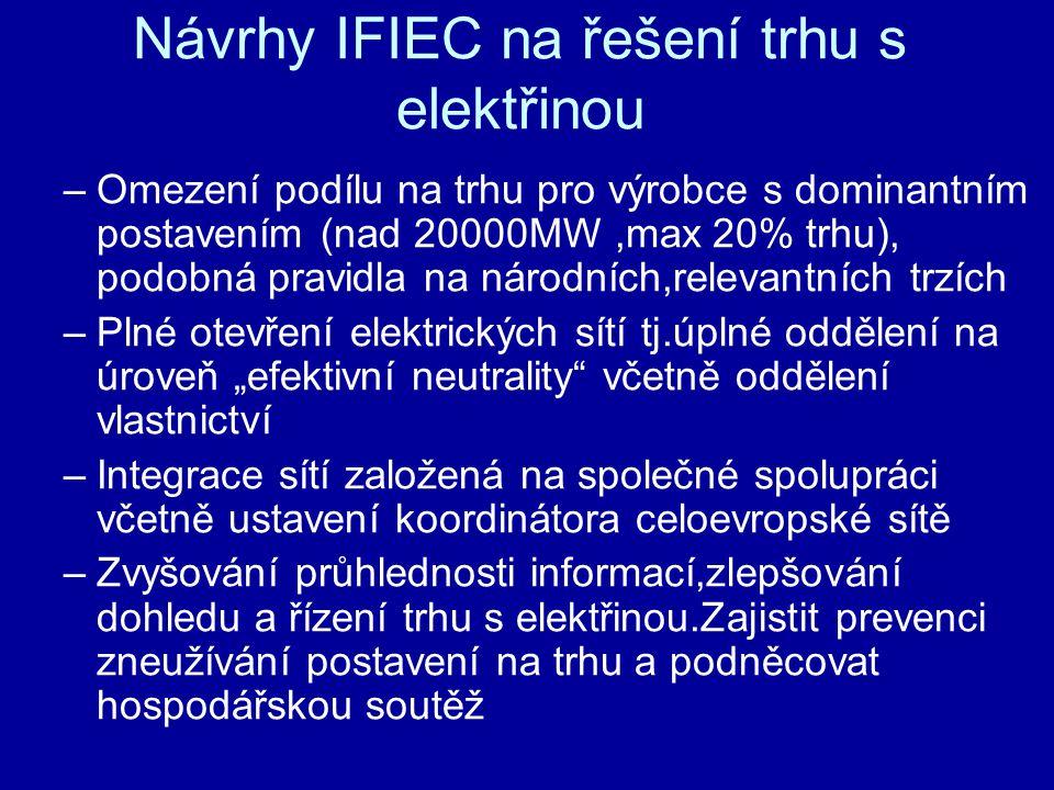 Návrhy IFIEC na řešení trhu s elektřinou –Omezení podílu na trhu pro výrobce s dominantním postavením (nad 20000MW,max 20% trhu), podobná pravidla na