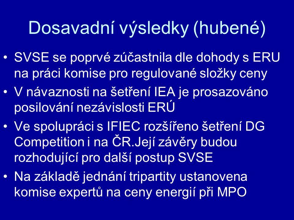 Dosavadní výsledky (hubené) •SVSE se poprvé zúčastnila dle dohody s ERU na práci komise pro regulované složky ceny •V návaznosti na šetření IEA je pro