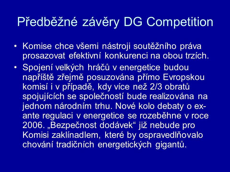 Předběžné závěry DG Competition •Komise chce všemi nástroji soutěžního práva prosazovat efektivní konkurenci na obou trzích. •Spojení velkých hráčů v