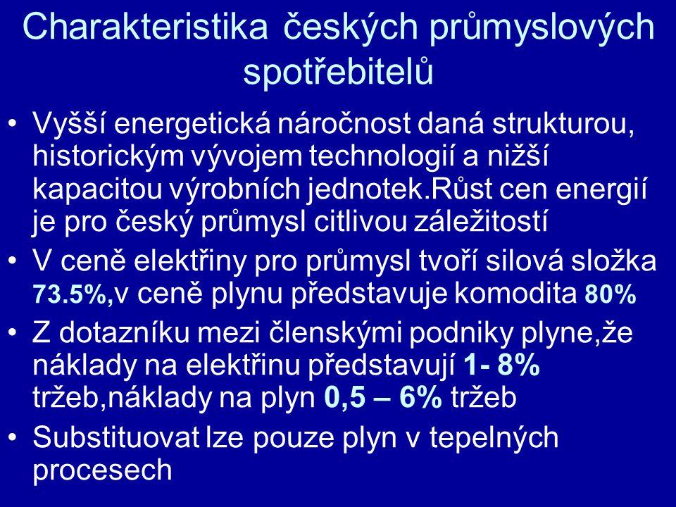 Charakteristika českých průmyslových spotřebitelů •Vyšší energetická náročnost daná strukturou, historickým vývojem technologií a nižší kapacitou výro