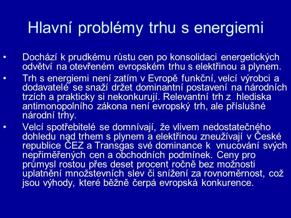Hlavní problémy trhu s energiemi •Vláda podpořila dominantní postavení RWE a ČEZ privatizačním procesem (podmínky prodeje Transgas; sloučení ČEZ s 5-ti REAS), aniž by zajistila dostatečně nezávislé postavení a funkčnost regulátora dle směrnice EC 2003/54/EC a 2003/55/EC – viz výtka Mezinárodní energetické agentury.