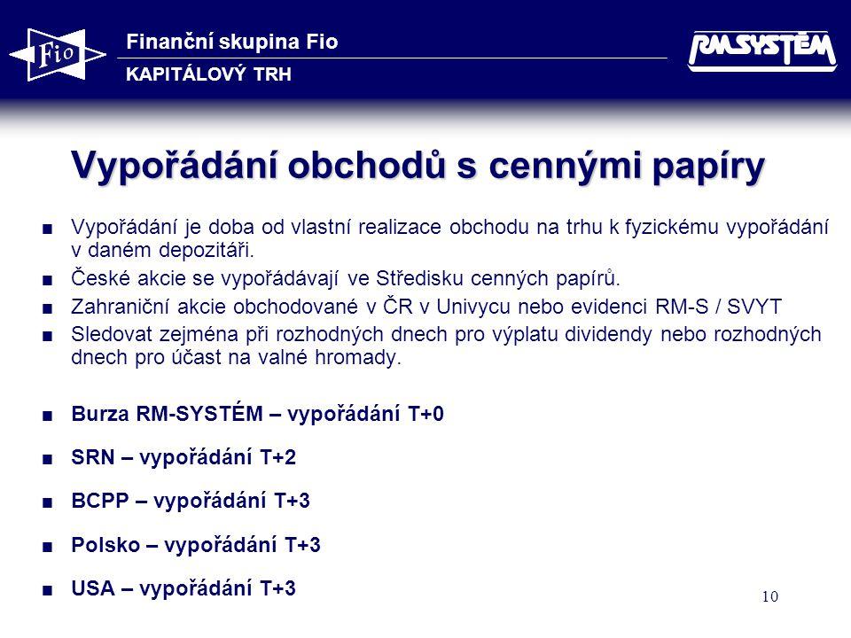 Finanční skupina Fio KAPITÁLOVÝ TRH 10 Vypořádání obchodů s cennými papíry  Vypořádání je doba od vlastní realizace obchodu na trhu k fyzickému vypořádání v daném depozitáři.