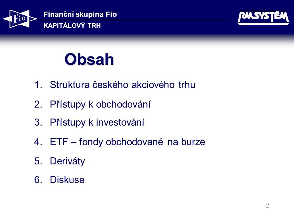 Finanční skupina Fio KAPITÁLOVÝ TRH 2 Obsah 1.Struktura českého akciového trhu 2.Přístupy k obchodování 3.Přístupy k investování 4.ETF – fondy obchodo