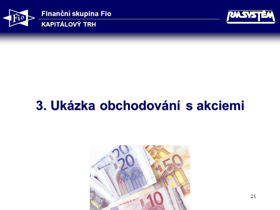 Finanční skupina Fio KAPITÁLOVÝ TRH 21 3. Ukázka obchodování s akciemi