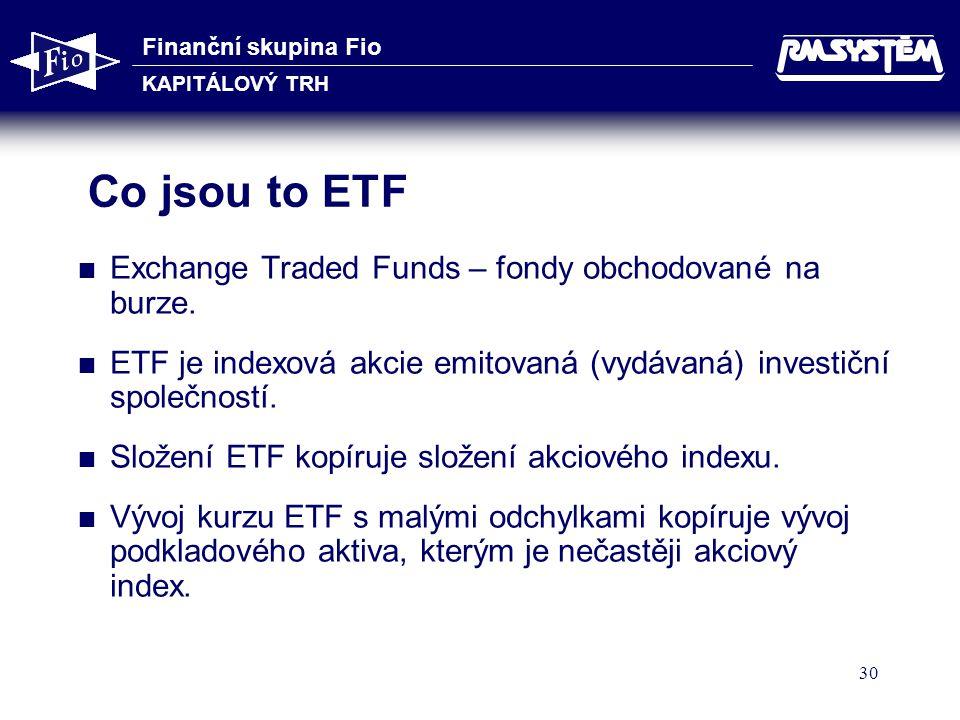 Finanční skupina Fio KAPITÁLOVÝ TRH 30 Co jsou to ETF  Exchange Traded Funds – fondy obchodované na burze.  ETF je indexová akcie emitovaná (vydávan