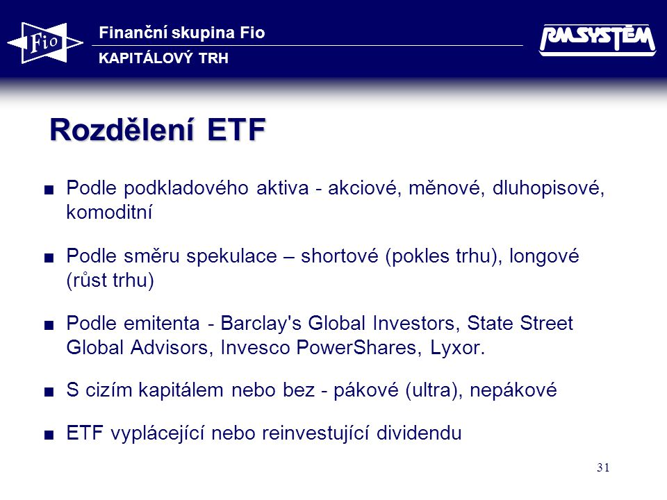 Finanční skupina Fio KAPITÁLOVÝ TRH 31 Rozdělení ETF  Podle podkladového aktiva - akciové, měnové, dluhopisové, komoditní  Podle směru spekulace – shortové (pokles trhu), longové (růst trhu)  Podle emitenta - Barclay s Global Investors, State Street Global Advisors, Invesco PowerShares, Lyxor.