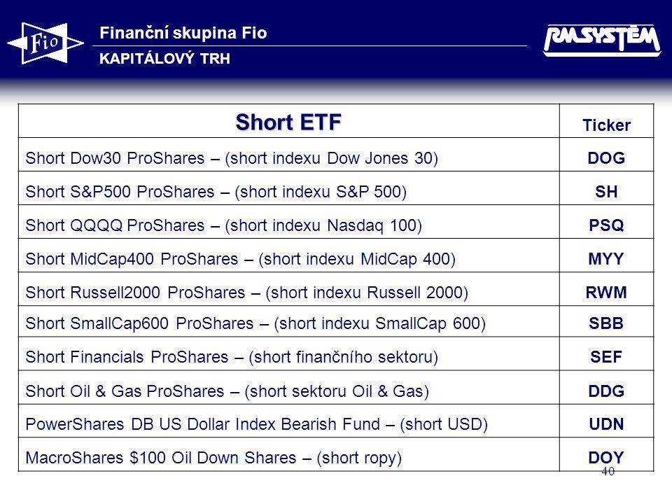 Finanční skupina Fio KAPITÁLOVÝ TRH 40 Short ETF Ticker Short Dow30 ProShares – (short indexu Dow Jones 30)DOG Short S&P500 ProShares – (short indexu S&P 500)SH Short QQQQ ProShares – (short indexu Nasdaq 100)PSQ Short MidCap400 ProShares – (short indexu MidCap 400)MYY Short Russell2000 ProShares – (short indexu Russell 2000)RWM Short SmallCap600 ProShares – (short indexu SmallCap 600)SBB Short Financials ProShares – (short finančního sektoru)SEF Short Oil & Gas ProShares – (short sektoru Oil & Gas)DDG PowerShares DB US Dollar Index Bearish Fund – (short USD)UDN MacroShares $100 Oil Down Shares – (short ropy)DOY