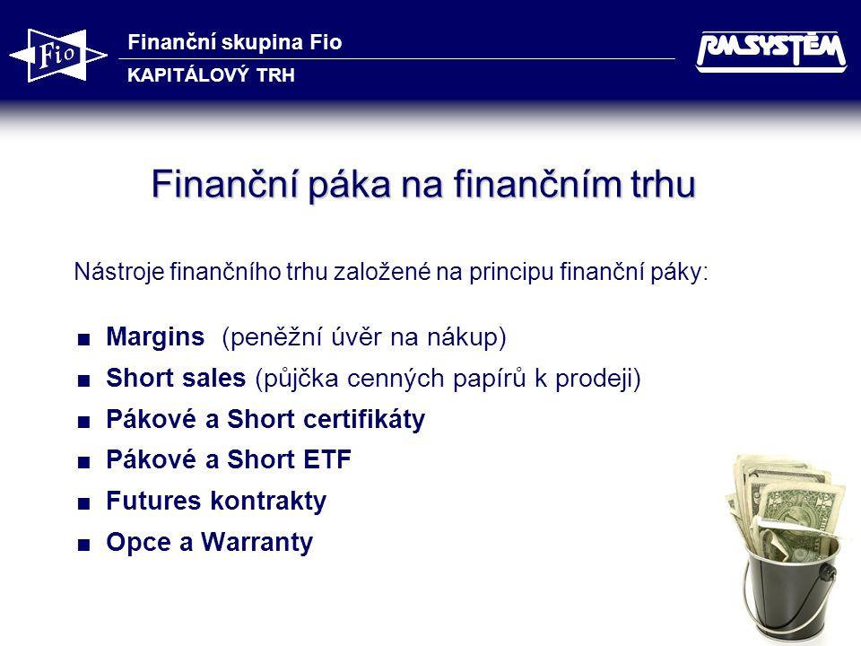 Finanční skupina Fio KAPITÁLOVÝ TRH 42 Finanční páka na finančním trhu Nástroje finančního trhu založené na principu finanční páky:  Margins (peněžní úvěr na nákup)  Short sales (půjčka cenných papírů k prodeji)  Pákové a Short certifikáty  Pákové a Short ETF  Futures kontrakty  Opce a Warranty