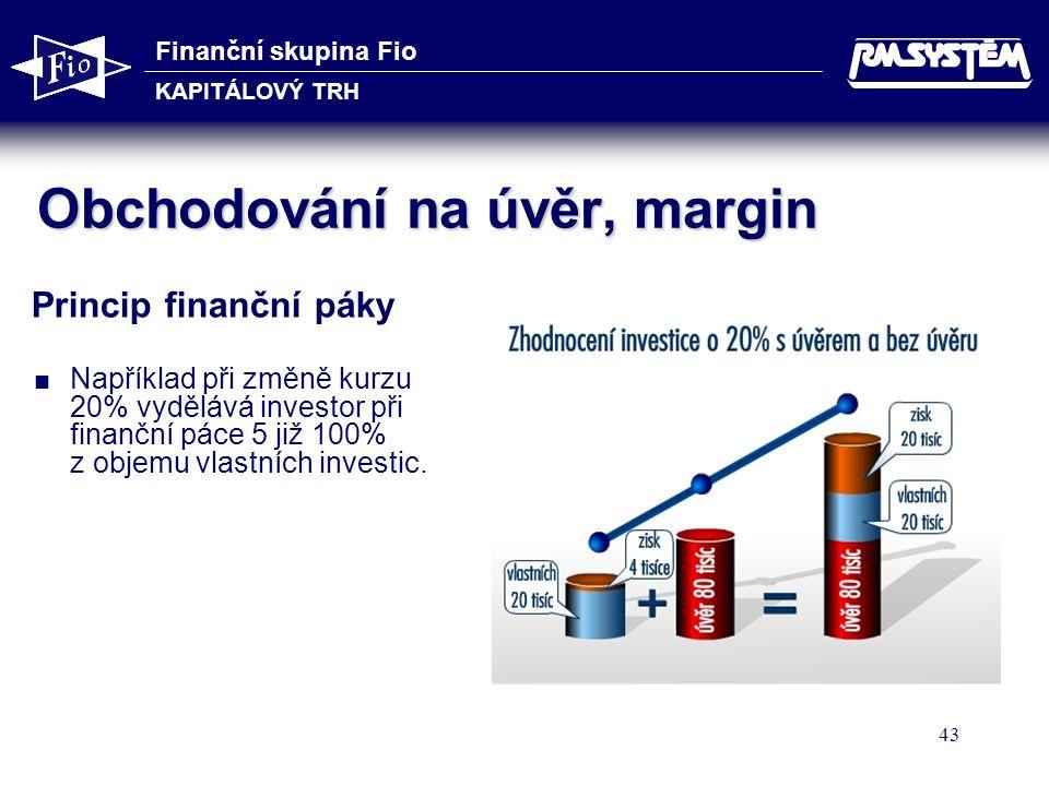 Finanční skupina Fio KAPITÁLOVÝ TRH 43 Obchodování na úvěr, margin Princip finanční páky   Například při změně kurzu 20% vydělává investor při finan
