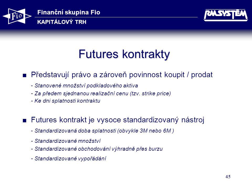 Finanční skupina Fio KAPITÁLOVÝ TRH 45 Futures kontrakty  Představují právo a zároveň povinnost koupit / prodat - Stanovené množství podkladového aktiva - Za předem sjednanou realizační cenu (tzv.